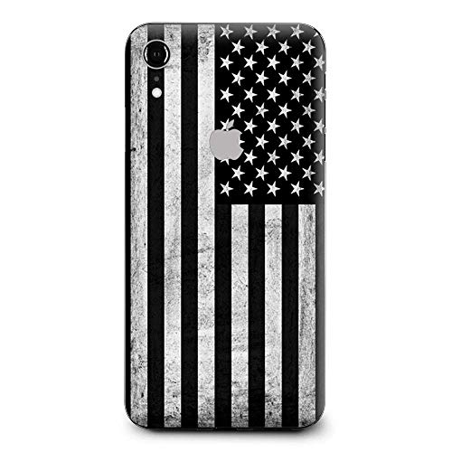 Skin Decal Vinyl Wrap for Apple iPhone XR | Phone Stickers Skins Cover| Black White Grunge Flag USA America