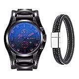 Montre pour homme Mode militaire classique bracelet cuir montre, calendrier, affichage de la date...