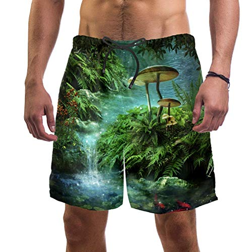 Dragon Sword Fantasy River Pond Red Fishes and Mushroom Men's Summer Beach Shorts Board Shorts Quick-Drying Surfing Swim Trunks with Pockets