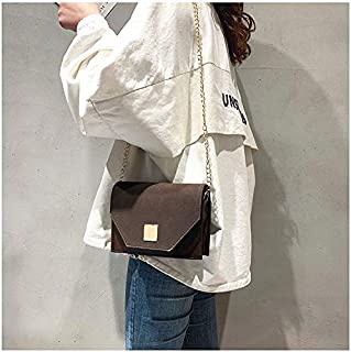 YKDY Shoulder Bag Pure Color Fashion PU Leather Chain-Strap Single Shoulder Bag Frosted Square Bag Ladies Handbag Messenger Bag (Black) (Color : Coffee)