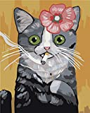Cartoon CAT Paint by Numbers Kit for Adults, Acrylic Painting Oil Painting on Canvas Without Frame, Customized DIY Paint by Numbers Set Painting for Beginners, 16x20 inch