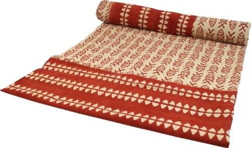 GURU SHOP Blockdruck Tagesdecke, Bett und Sofaüberwurf, Handgearbeiteter Wandbehang, Wandtuch - Design 19, Rot, Baumwolle, Größe: Single 150x200 cm, Tagesdecken mit Blockdruck