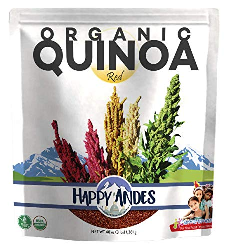 Happy Andes Red Organic Quinoa 3 lbs - Non Gluten, Whole Grain Rice Substitute - Ready to Cook Food for Oats & Seeds Recipes - Healthy Meal with Vitamins & Protein - Best Value Grocery Bag