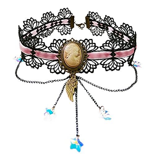 Lnrueg Gargantilla De Encaje Ajustable Vintage Decorativa Moda Gargantilla De Clavícula Gargantilla Gótica Mujeres Niñas Señora Joyería para Mujer Decoración De Mujer