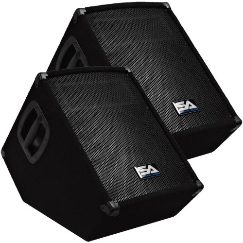 """Seismic Audio - SA-10MT-PW-Pair - Pair of Powered 2-Way 10"""" Floor / Stage Monitor Wedge Style with Titanium Horns"""