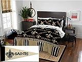 Sports Bedding New Orleans Saints Full Comforter & Sheet (5 Piece Bed in A Bag) + Bonus Pennant Flag