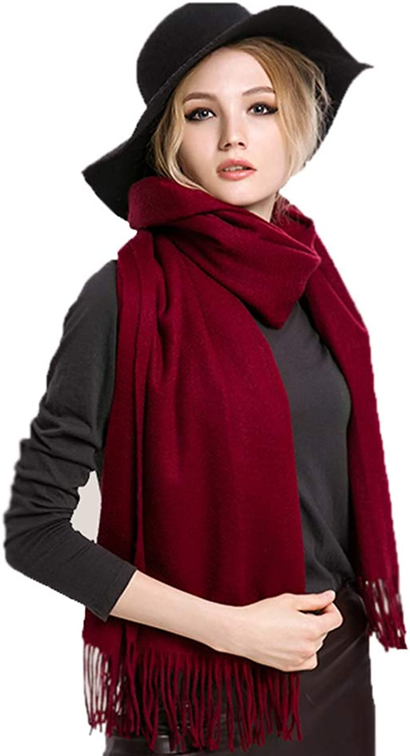Cold Weather Scarves Wool Scarf Ladies Scarf Autumn and Winter Scarves Korean Version of The Wild Scarf Thick Warm Scarf Large Shawl Dualuse (color   Red, Size   200  70cm)