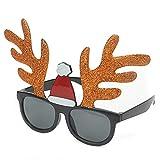 Novelty Glittered Christmas Decoration Fanci-Frames Party Accessory Eyeglasses (Black Dear)