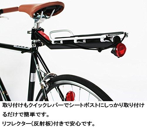 VéloLine(ベロライン)アルミ製リアキャリアツーリングキャリアサイクル自転車荷台後付けシートポスト取り付けタイプ簡単取り付け耐荷重9kgリフレクター付きゴムバンド付き86909-0099