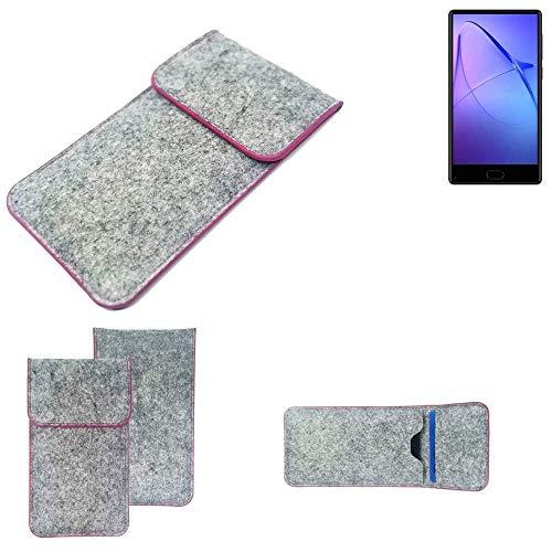 K-S-Trade Handy Schutz Hülle Für Leagoo KIICA Mix Schutzhülle Handyhülle Filztasche Pouch Tasche Hülle Sleeve Filzhülle Hellgrau Pinker Rand