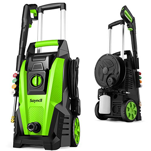 Power Washer, Suyncll Pressure Washer 3800PSI Electric High Pressure Washer 2000W Professional Car Washer Cleaner Machine with Hose Reel,4 Nozzles for Patio Garden Yard Vehicle (Green)