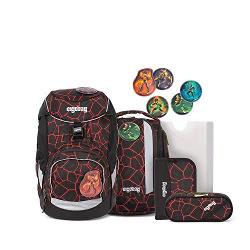 Ergobag Pack SupBärheld, ergonomischer Schulrucksack, Set 6-teilig, 20 Liter, 1.100 g, Lava Rot Schwarz