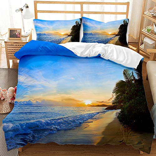 QIAOJIN Juego de ropa de cama para niños, impresión 3D de mirada a la playa, funda nórdica de microfibra azul y funda de almohada, para niños y niñas (200 x 200 cm)