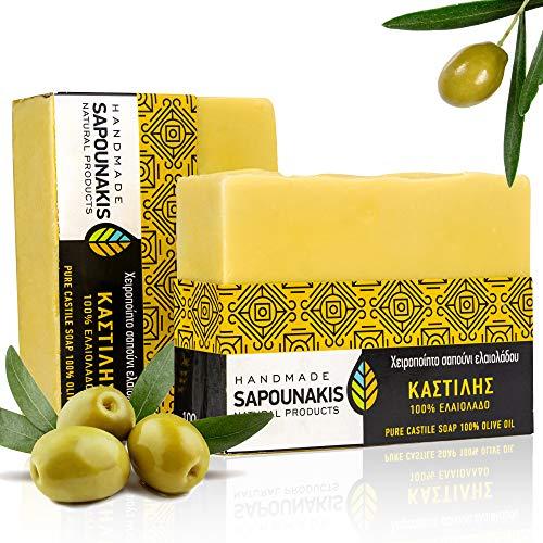 Sapounakis Olivenölseife Duschbrocken 2 x 100 gr aus Griechenland. Handgeschöpft aus 100% extra nativem Olivenöl aus dem Peloponnes Naturseife, Duschseife für Körper, festes Shampoo.