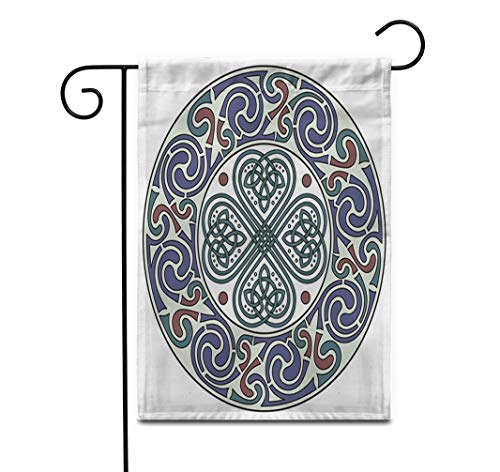 Awowee 12'x18' Garden Flag Four Leaf Clover Irish Symbol in The Celtic Outdoor Home Decor Double Sided Yard Flags Banner for Patio Lawn