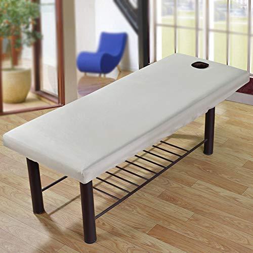 2 x Massageliege-Laken mit Gesichtsloch, elastisches Spannbetttuch für universelles Schönheitsbett, Couchbezug, atmungsaktiv, weich, für Spa, Schönheits- und Gesichtssalon
