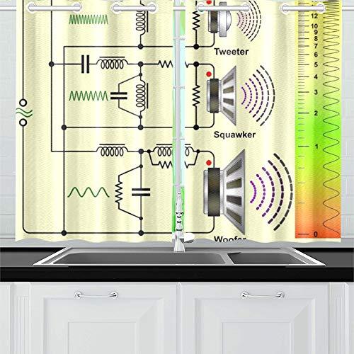 JINCAII Lautsprecher Frequenzweichen Schaltplan Küchenvorhänge Fenstervorhang Stufen für Café, Bad, Wäscherei, Wohnzimmer Schlafzimmer 26 x 39 Zoll 2 Stück