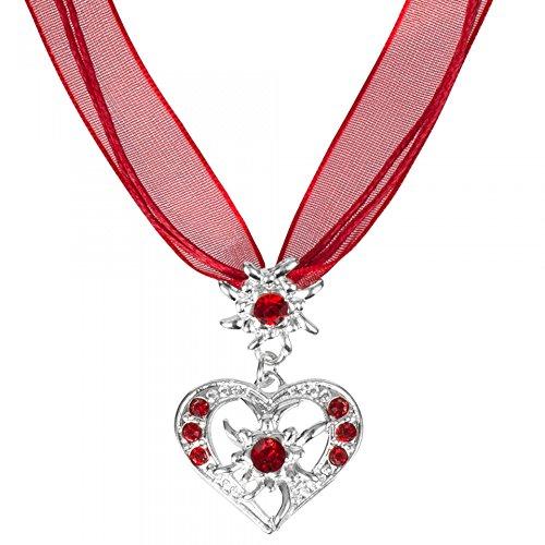 PAULGOS Trachtenkette Trachtenschmuck Halskette Anhänger Herz Trachten Kette mit Strass und Edelweiss in 5 Farben TSK2, Farbe:Rot, Größe Onesize:Onesize