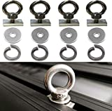 4 Pack - Heavy-Duty Stainless Steel Eye Bolt tie Down Anchoring kit for roof Rack.for Awning and Other Accessories.