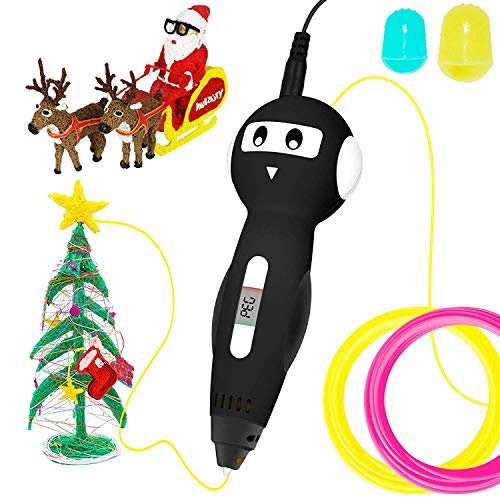 NEXGADGET 3D Pen Intelligent LED Display Voice Prompt with 2 Pack PLA Refilaments Compatible with PLA & PETG , Temperature & Speed Printing Control Safety 3D Craft Pen Christmas Toys Gifts for Kids