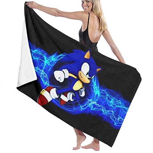 Ewtretr Toalla de Playa Sonic The Hedgehog 36 Beach Towels Ultra Absorbent Microfiber Bath Towel Picnic Mat for Men Women Kids