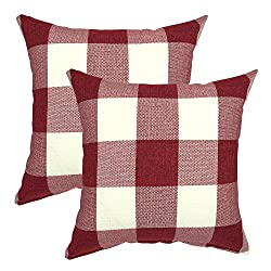 Farmhouse Christmas Decor red buffalo check pillows