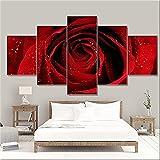 SDGSDG 5 Piezas Painting Lienzo 150x80cm(Con marco ) /Rosa roja /HD Imágenes Impresiones Sobre Lienzo Para El Moderna Hogar Decoración
