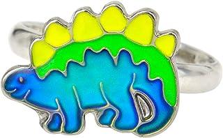 Fun Jewels Dinosaur Color Change Kids Stegosaurus Mood Ring Gift for Boys Girls Size Adjustable