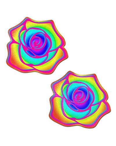 iHeartRaves Rainbow Acid Rose Pasties (Set of 2 Pasties)