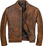 Mens Real Leather Biker Vintage Cafe Racer Motorcycle Distressed Brown Genuine Leather Jacket (XXL)