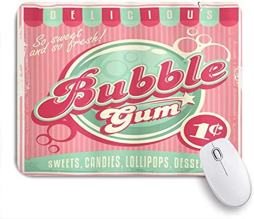 NANITHG Stoff Mousepad,Bubble Gum Chewing Delicious Candy Lollipop Süßer Zucker Werbung Poster Style,Rutschfest eeignet für Büro und Gaming Maus