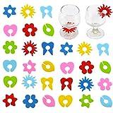 12 Piezas Marcador de Vino de Silicona Adornos de Copa de Vino de Silicona Marcadores de Copa de Vino de Fiesta Marcadores de Vidrio de Silicona para Copas de Vino Copas de Champán Copas de Cóctel