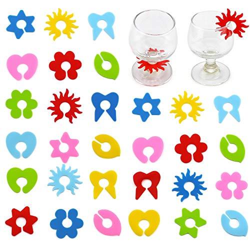 12 Stück Silikon Wein Marker Weinglas Anhänger Glasmarkierer Rings Party Weinglas Glasmarkierer Glasmarkierer Set Wiederverwendbare Weinglasmarker für Party Gläser Weingläser Sektgläser Cocktailgläser