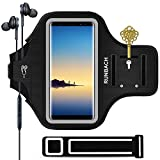 RUNBACH Galaxy Note 10+/ 9/8 Armband, Sweatproof Running Exercise Gym Cellphone Sportband Bag with Fingerprint Touch/Key Holder and Card Slot for Samsung Galaxy Note 10+/Note 9/Note 8 (Black)
