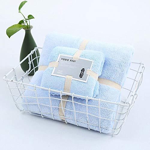 HIROCK 2 Set di Asciugamani da Bagno in Pile di Corallo, Super Assorbente, Resistente e Facile da asciugare, Non sbiadisce, Set di Asciugamani in Microfibra(03# Blu)