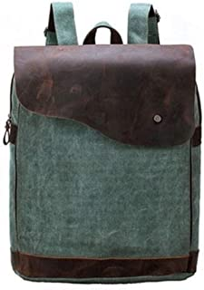 Leather and Canvas Genuine Leather Canvas Backpacks for School Large-Capacity Fashion Trend Travel Bag. XFGBTJKYAUu (Color : Green, Size : S)