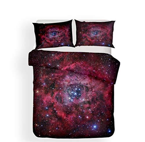 ADGAI 3D Starry Sky dekbedovertrek set allergie voorkomen universum maan beddengoed Set 3 stuk dekbed dekbed en kussensloop voor kinderen, jongens, meisjes