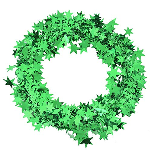 DAUERHAFT Tinsel Star Brace Wire Garland, 7.5 Meters Each Roll, Small Star Garland Christmas Tree, for Holiday Party(green)