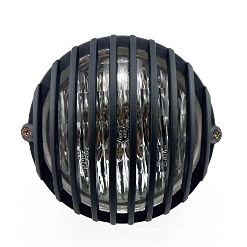 "TASWK 5"" Motorcycle Headlight Grill Prison Chopper Bobber Head Lamp (Black)"