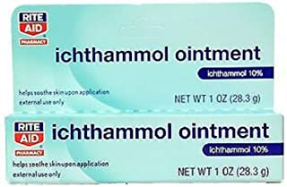 Rite Aid Ichthammol Ointment - 1 Ounce (28.3 g) - 1 Count - 10 Percent Ichthammol Ointment - Contains Petrolatum, Ichthammol, Anhydrous Lanolin and Light Mineral Oil to Calm Eczema, Psoriasis, Acne