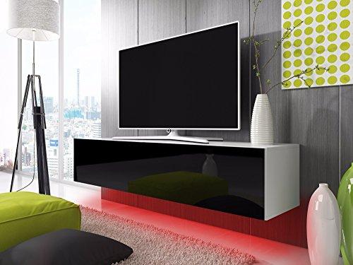 Lili Design TV Schrank Lowboard Hängeboard Simple mit LED Rot (weiß matt/schwarz Hochglanz 100 cm)