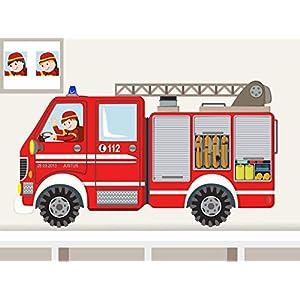 """Wandtattoo""""Feuerwehrauto kantig XS"""" Wandaufkleber Feuerwehrwagen für Junge Kinderzimmer individualisierbar"""