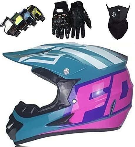 AZBYC Casco Motocross Niño Homologado Casco Moto Integral Unisex para Moto Cross Descenso Enduro MTB Quad BMX Bicicleta (Gafas+Máscara+Guantes) con Diseño Fox - Verde Brillante,XL