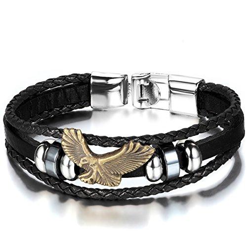 JewelryWe Schmuck Herren Damen Armband, Retro Adler Eagle Beads Kugeln Geflochten Charm Armreif, Leder Legierung, Schwarz Gold Silber