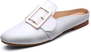 HWF レディースシューズ サマースクエアヘッド浅い口シングル半スリッパ女性の靴カジュアルレイジーフラット英国スタイルのサンダル女性 ( 色 : 白 , サイズ さいず : 35 )