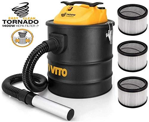 Easy Clean 1400W Vito 18L - Aspirador de Cenizas (hasta 50°, Filtro HEPA con función de Limpieza de filtros, Manguera de 1 m con Tubo de Aluminio de 200 mm), 3 Hepa-Filter