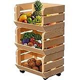 2FR Natural Obsthorde Kartoffelhorde Obststiege Obstregal Kartoffelkiste Apfelstiege Stapelhorde auf Rollen Früchtehorde Fruits BxHxT:40 x 30 x 70 cm (Natural)