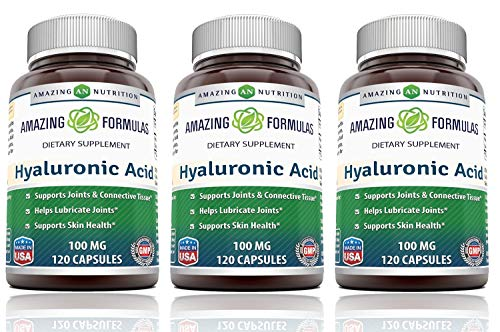 Amazing Formulas Hyaluronic Acid 100 mg Capsules (Non-GMO,Gluten Free) - Support Healthy Connective Tissue and Joints - Promote Youthful Healthy Skin (120 Count (Pack of 3))