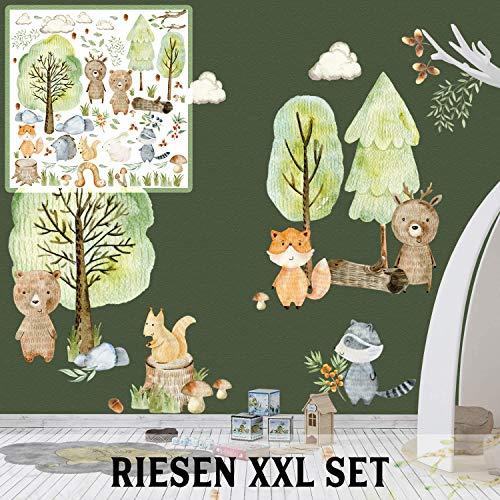 XXL Wandtattoo Woodland Set verschiedene Motive| Kinderzimmer Aufkleber bunt Wanddeko Kindergarten Waldtiere Wald Baum