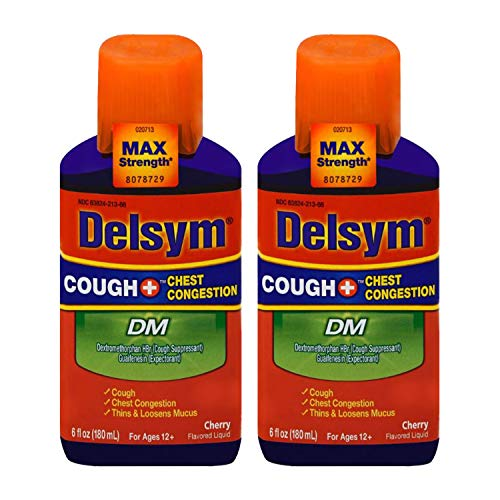 Max Strength Delsym Cough Plus Chest Congestion DM Liquid, Cherry Flavor, 6 fl. oz. Relieves Cough, Chest Congestion, and Thins & Loosens Mucus (Pack of 2)